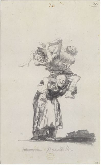 Goya, Francisco de (1746-1828): Nightmare; Witches and Old Women Album (D), page 20; Pesadilla, ca. 1819�1823. New York, Metropolitan Museum of Art*** Permission for usage must be provided in writing from Scala.