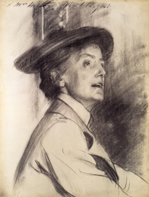 Dame Ethel Smyth was a composer, yet another important contributor to the arts drawn by Sargent. Copyright: National Portrait Gallery, London