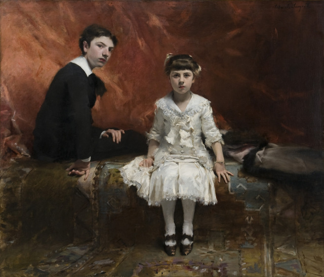 This is Sargent's first formal dual portrait of Édouard and Marie-Louise Pailleron, children of a playwright.  Copyright: Des Moines Art Center, Des Moines, Iowa