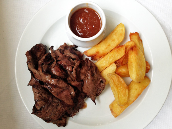 Ox heart with chips at St John. Photo by The Amateur Gourmet.