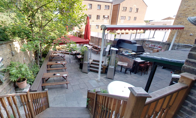 Pleasant beer garden, via Google Street View.
