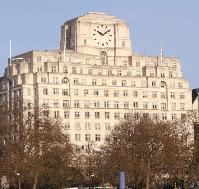 "This Art Deco office block was built for the oil company Shell-Mex in 1931. Its clock face is the largest in London and so earned the nickname ""Big Benzene""."