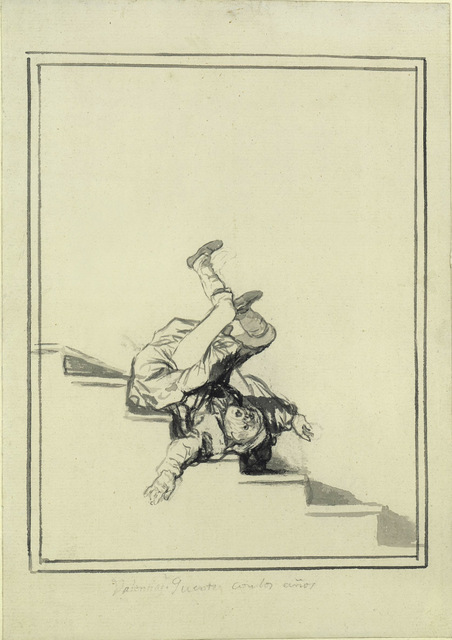 An elderly man tumbles down some stairs. Copyright Staatlich Museen, Berlin Preussicher Kulturbesitz, Kupferstchkabinett.