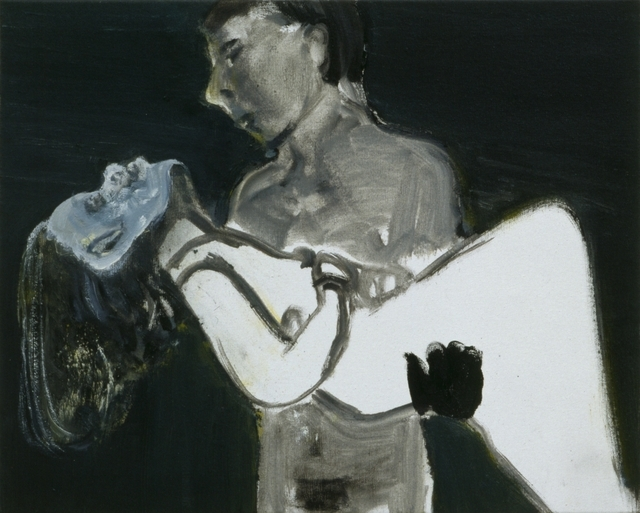 A dying heroine is carried by her lover in the work which gives the exhibition its title - the image as burden. © Marlene Dumas
