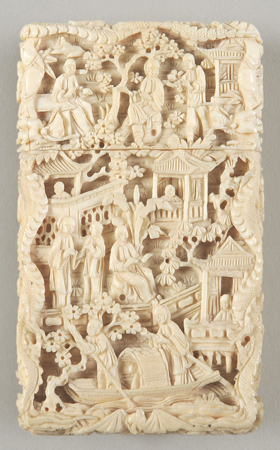 There are several ivory items in this exhibition including this intricately carved card case. Copyright Towneley Hall Art Gallery and Museum