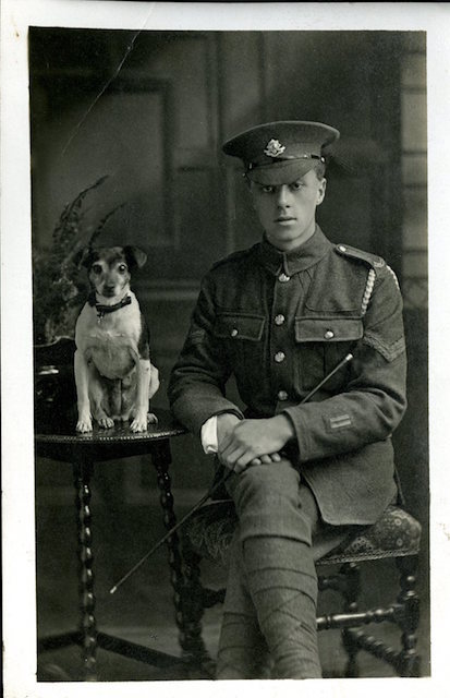 Corporal of the Worcestershire Regiment and canine companion, circa 1917.