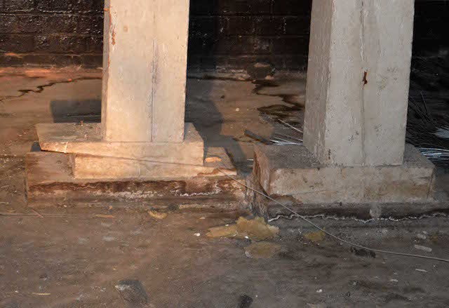 Wedges inserted in pillars to stabilise after bombing. Photo: Sandra Lawrence