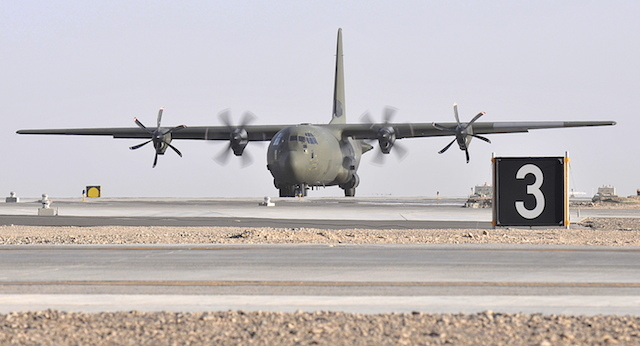 A Royal Air Force C130J Hercules transport plane taxis after landing at Camp Bastion, Afghanistan.   The aircraft is based at Kandahar and is part of 904 Expeditionary Air Wing. Camp Bastion lies in Central Helmand Province, Afghanistan and is the UKs main operating base in Afghanistan growing in just 5 years to a size similar to Aldershot in the UK.
