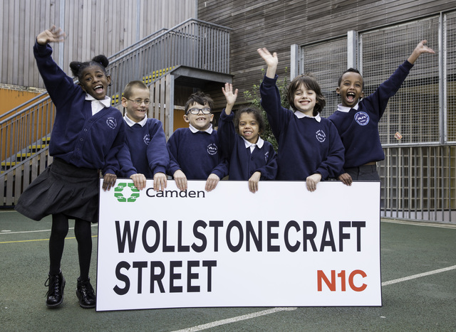 Children from Frank Barnes School for Deaf Children with the streetnaming competition winner for their school new locatioon on the King's Cross estate