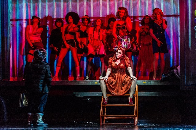 THE RISE AND FALL OF THE CITY OF MAHAGONNY; Royal Opera House; Covent Garden; London, UK; 7 March 2015;  CHRISTINE RICE - JENNY;  CONDUCTOR - MARK WIGGLESWORTH; DIRECTOR - JOHN FULLJAMES; SET DESIGNS - ES DEVLIN; COSTUME DESIGNS - CHRISTINA CUNNINGHAM; LIGHTING DESIGN - BRUNO POET; VIDEO DESIGNS - FINN ROSS; CHOREOGRAPHER - ARTHUR PITA;  Photo: © ROH. Photographer CLIVE BARDA