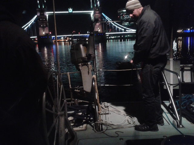 Putting the recording equipment into the water, shortly after leaving the moorings in Wapping.