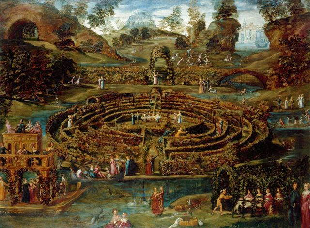 This pleasure garden with a maze is filled with people feasting and frolicking. Copyright Royal Collection.