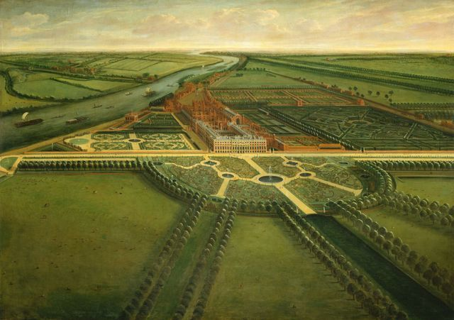 This aerial view of Hampton Court Palace includes both the river and the famous maze. Copyright Royal Collection.