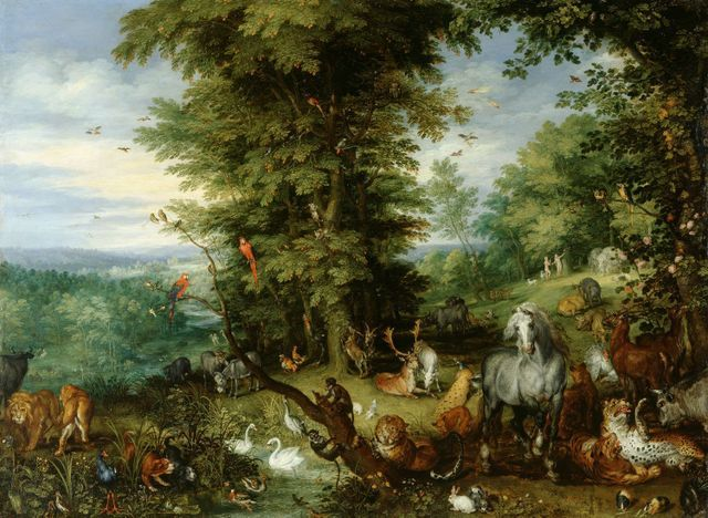Animals take centre stage in this version of the Garden of Eden by Jan Brueghel the Elder. Copyright Royal Collection.