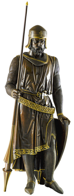 This statue of Baron Geoffrey de Mandeville greets visitors as they enter the exhibition. He was one of the barons that opposed King John. Copyright Palace of Westminster. Photo: James Turp.