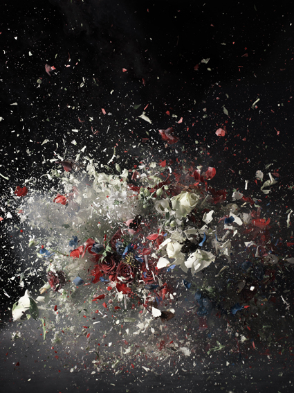 This bouquet has been frozen with liquid nitrogen and fitted with an explosive. The artists then captures the moment of explosion. © Ori Gersht