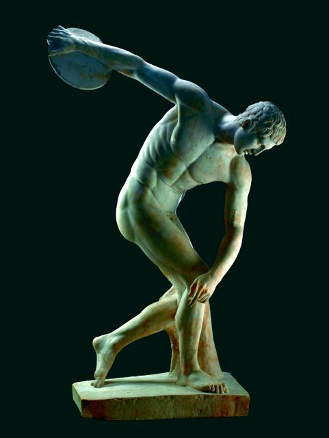 A discus thrower is sculpted to show off his athletic body.  © The Trustees of the British Museum