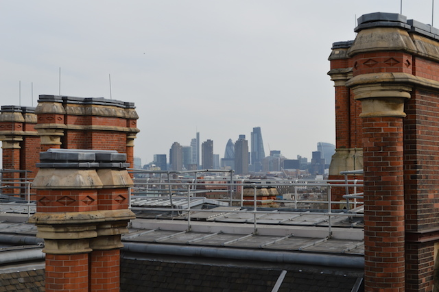 Among the myriad chimneys, one can also gain impressive views of the Square Mile.