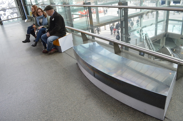 If you ever catch the Javelin train from St Pancras International, look out for these benches on the concourse. They were created from sliced up Olympic rings.