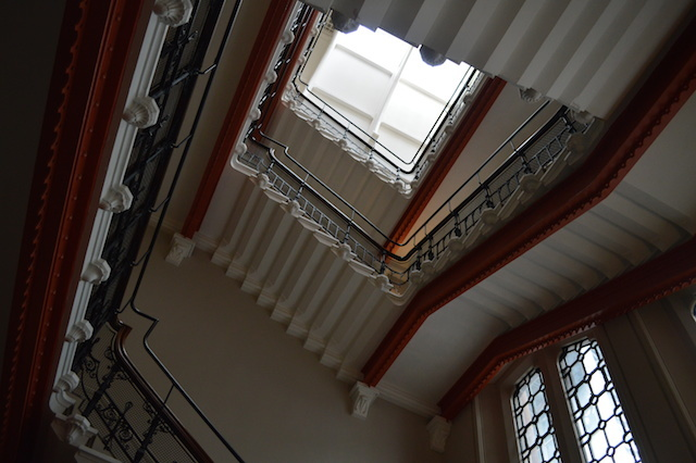 Inside the adjoining St Pancras Chambers, a generously spaced stairwell serves the building's private apartments.
