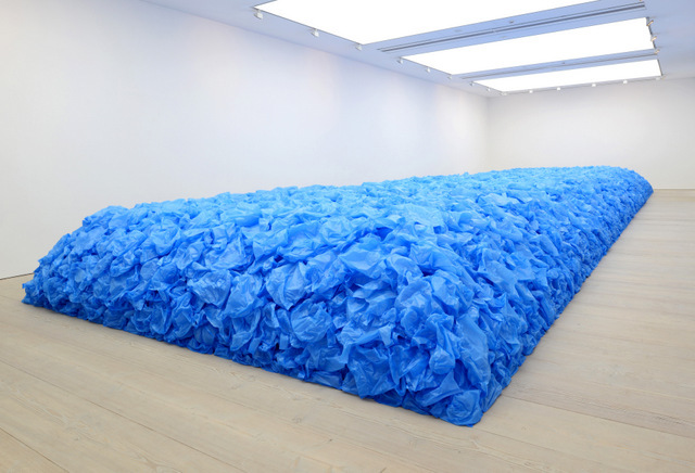 97,000 blue plastic bags are a memorial to lives lost at sea in the slave trade. By Jean-Francois Bocle.