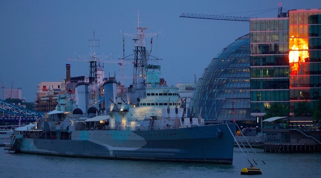 The sun sets on HMS Belfast. Photo: Ian Wylie (2014)