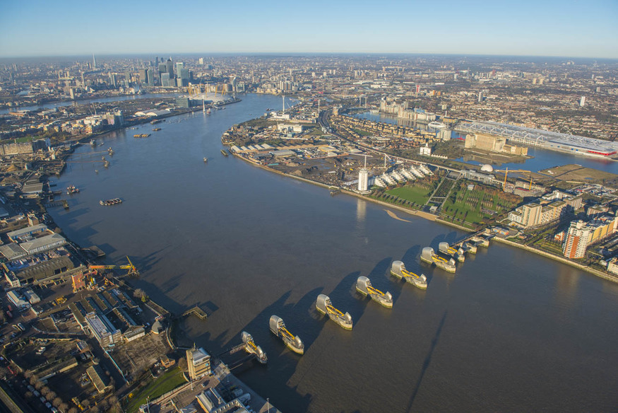 The Thames Barrier from above: could almost be a modern day Armada.