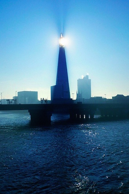 The Shard tries to perform its own solar eclipse. Photo: Jerry Clack (2013)