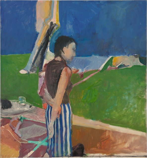 Richard Diebenkorn  Girl On a Terrace, 1956  Oil on canvas, 179.07 x 166.05 x 2.54 cm  Collection Neuberger Museum of Art   Purchase College, State University of New York. Gift of Roy R. Neuberger  Copyright 2014 The Richard Diebenkorn Foundation