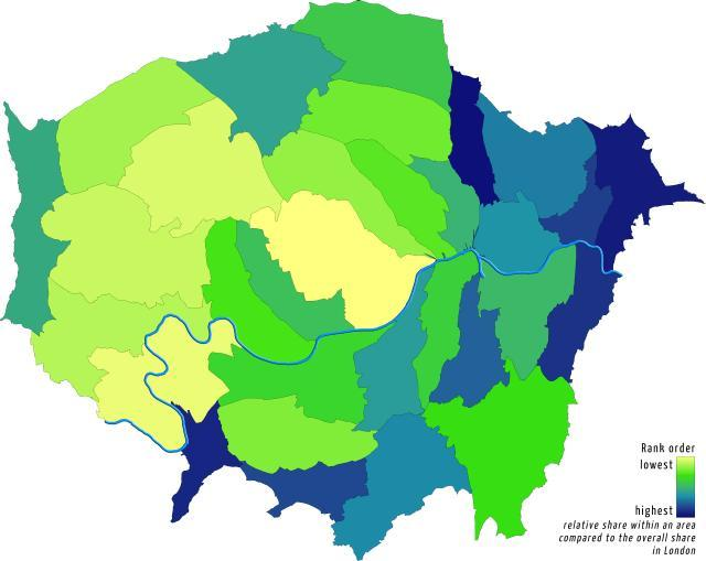 Decline in households in the 'middle', proportionally by borough. By Londonmapper.