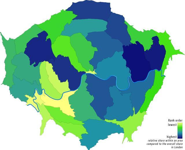 Increase in 'poor' households, proportionally by borough. By Londonmapper.
