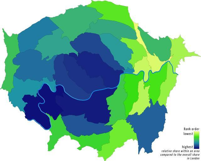 Increase in 'wealthy' households, proportionally by borough. By Londonmapper.