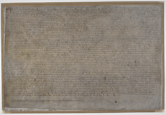 The London copy of the Magna Carta. One of four known to exist. Copyright British Library.