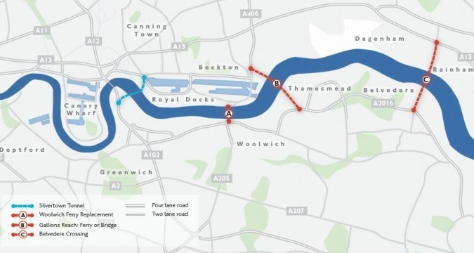 TfL's proposed crossings at Belvedere and Gallions Reach