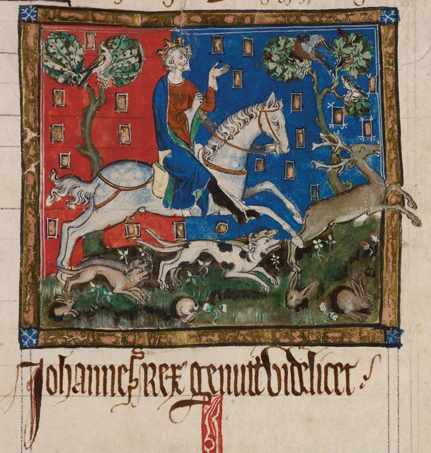 King John hunting,[Miniature only] King John hunting a stag with hounds.Originally published/produced in England; 14th century.