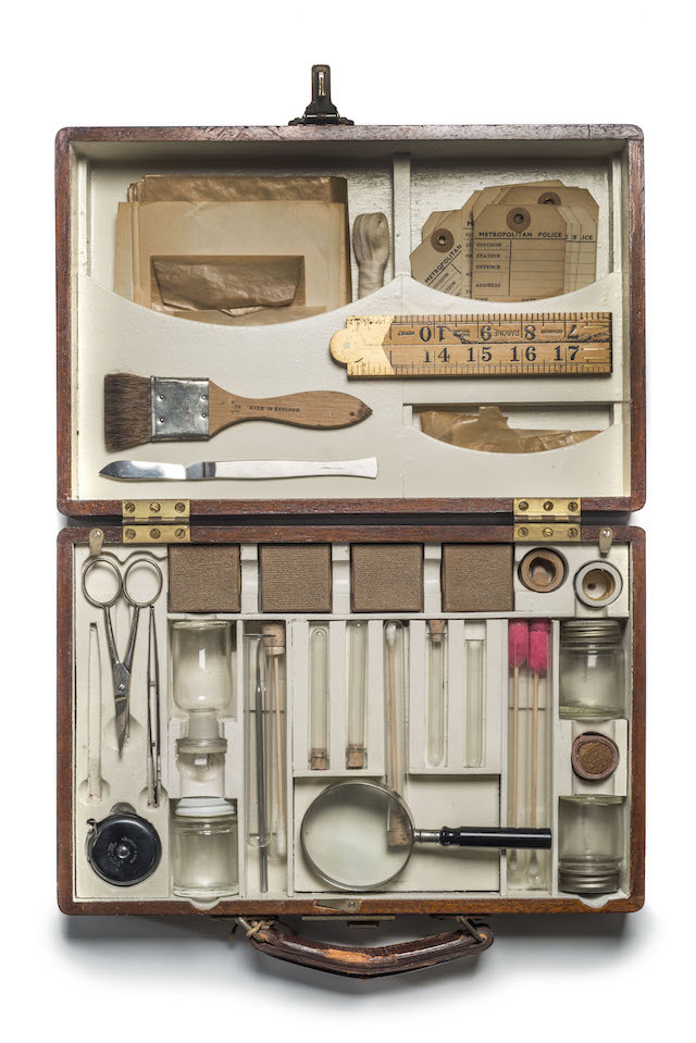 A forensics kit used by detectives attending crime scenes