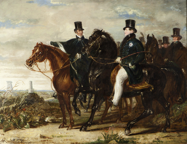 The Duke of Wellington showing the Prince Regent (later George IV) the battlefield of Waterloo by Benjamin Robert Haydon. Copyright: Stratfield Saye Preservation Trust