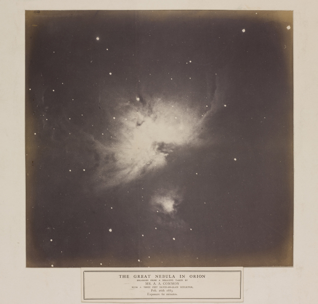 One of eleven photographs, taken by Andrew Ainslie Common of the Orion Nebula (M42) using a 36-inch reflecting telescope with a silver-on-glass mirror in the garden at his home in Ealing, London.