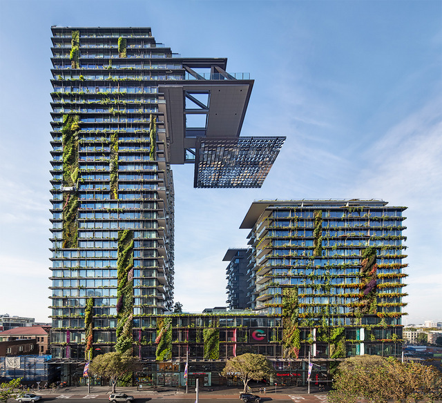 This seemingly post-apocalyptic sight is actually the result of integrating plant life into architecture. Photograph Murray Fredericks, courtesy Frasers property and Sekisui House