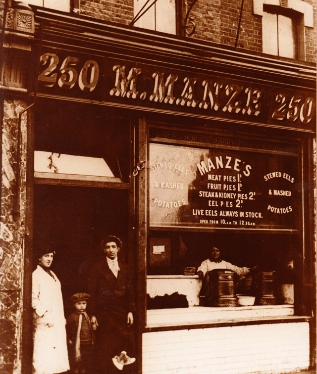 M. Manze on Tower Bridge Road back in the day (we're not sure of the date)...