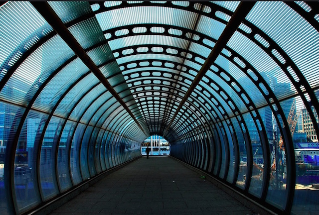 Poplar DLR station foot tunnel. Photo: Richard Watkins (2009)