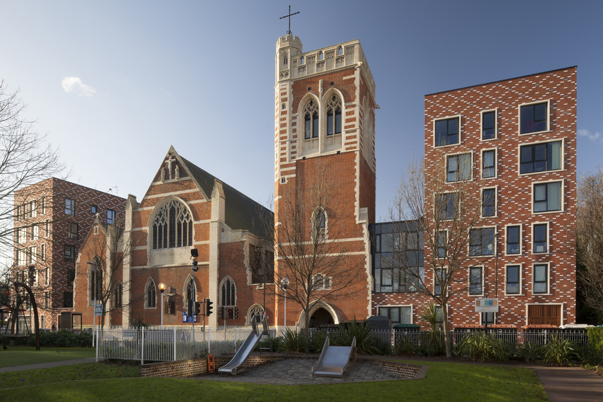 St Mary of Eton Church Apartments and Community Rooms Hackney Wick, by Matthew Lloyd Architects LLP. ©Mikael Schilling