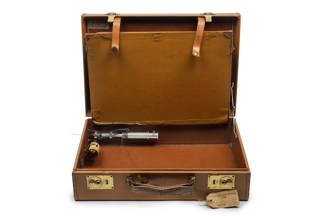 A briefcase with syringe and posion intended for use by the Krays against a witness at the Old Bailey (never used), 1968