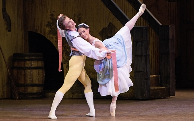 Vadim Muntagirov (Colas) and Laura Morera (Lise) in La Fille Mal Gardee by The Royal Ballet @ Royal Opera House. (Opening 16-04-15) ©Tristram Kenton 04/15 (3 Raveley Street, LONDON NW5 2HX TEL 0207 267 5550  Mob 07973 617 355)email: tristram@tristramkenton.com