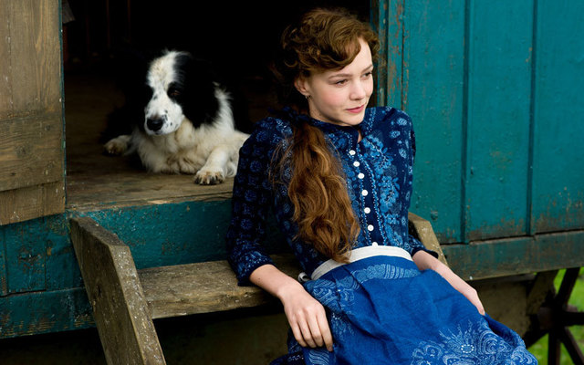 Carey Mulligan and a dog star in Far From the Madding Crowd.