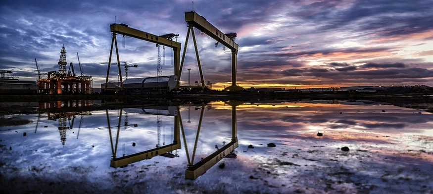 A perfect reflection of cranes on the water's surface. Copyright Norman Quinn.