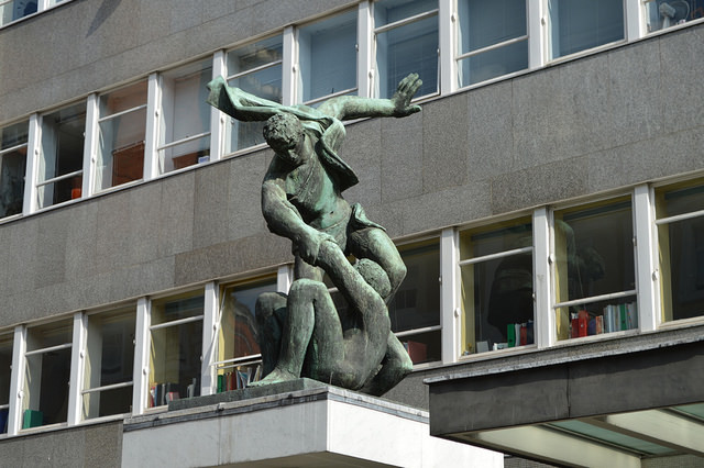 """Trade Union Spirit"" by Bernard Meadows is perhaps the ultimate symbol of the worker helping his fellow man. It can be found on the trade union building in Bloomsbury."