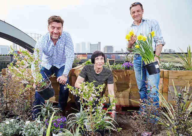 RHS Ambassador Nick Knowles, Volunteer Beeke Ropers and RHS Gardener and Ambassador Chris Beardshaw