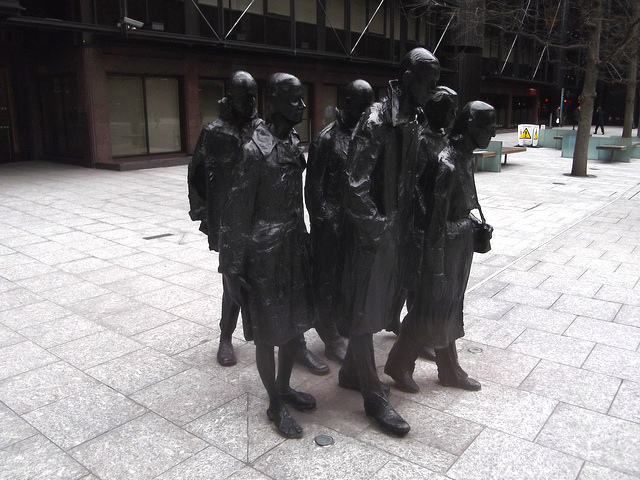 One of London's most depressing sculptures, George Segal's 'Rush Hour' depicts a set of commuters on a miserable march to work. It's in the middle of Broadgate.