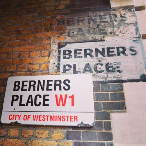 The gradually migrating sign of Berners Place